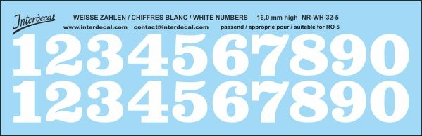White numbers 05 for RO5 16 mm high (161x52 mm) NR-WH-32-5