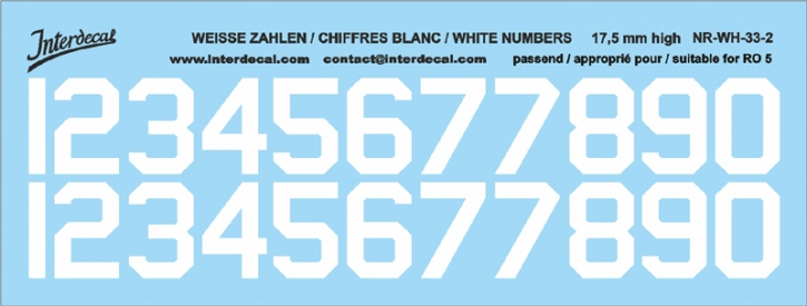 White numbers 02 for RO5 17,5 mm high (148x56 mm) NR-WH-33-2