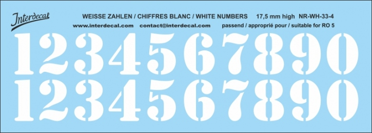 White numbers 04 for RO5 17,5 mm high (148x56 mm) NR-WH-33-4