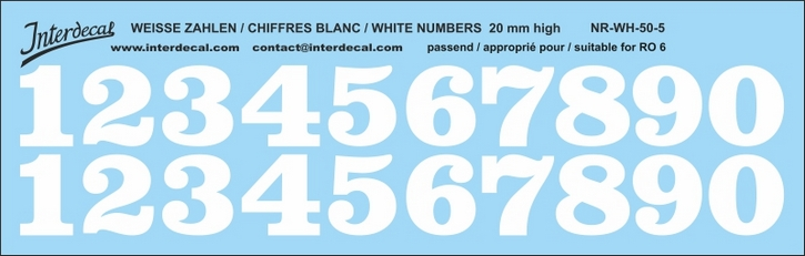 ZAHLEN / NUMBERS / CHIFFRES 05 for R06 weiss/white/blanc 20mm ( 198x63 mm)