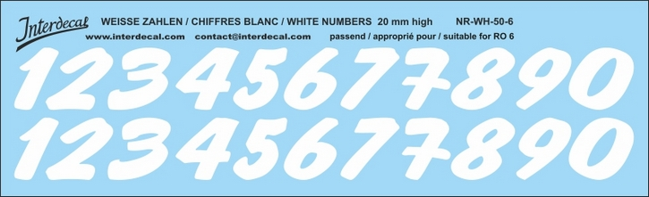 ZAHLEN / NUMBERS / CHIFFRES 06 for R06 weiss/white/blanc 20mm ( 206x63 mm)