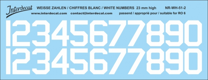 White numbers 02 for RO6 23mm  (184x71 mm) NR-WH-51-2