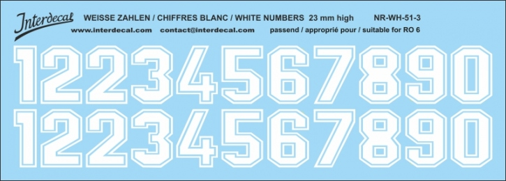 White numbers 03 for RO6 23mm  (198x71 mm) NR-WH-51-3