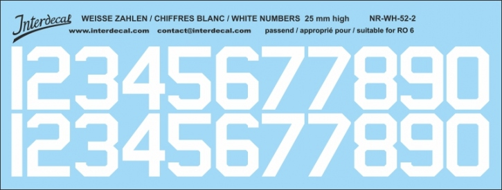White numbers 02 for RO6 25mm (198x75 mm) NR-WH-52-2