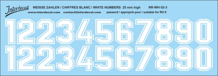 White numbers 03 for RO6 25mm (214x75 mm) NR-WH-52-3
