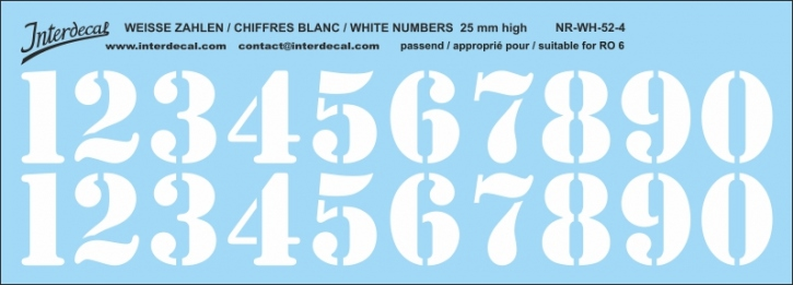 White numbers 04 for RO6 25mm (214x75 mm) NR-WH-52-4
