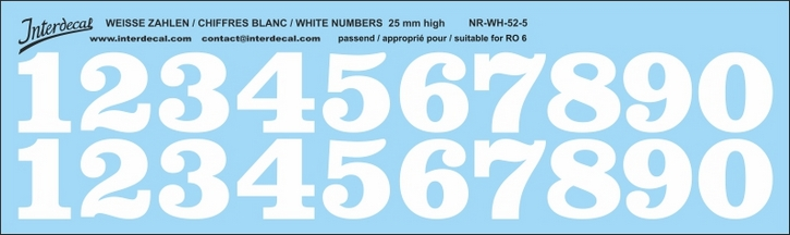 ZAHLEN / NUMBERS / CHIFFRES 05 for R06 weiss/white/blanc 25mm ( 214x75 mm)