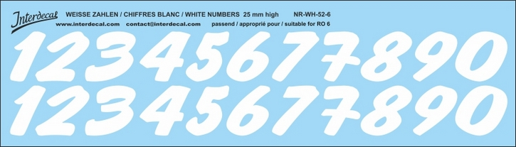 ZAHLEN / NUMBERS / CHIFFRES 06 for R06 weiss/white/blanc 25mm ( 256x73 mm)