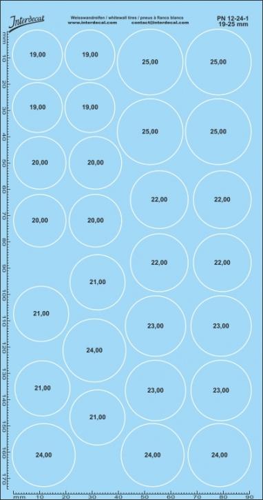 Weisswandreifen Decals 1/24 19-25mm 0,3mm breit