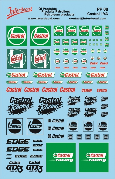 Öl Produkte 6 Castrol Sponsoren Decal (140x90 mm)