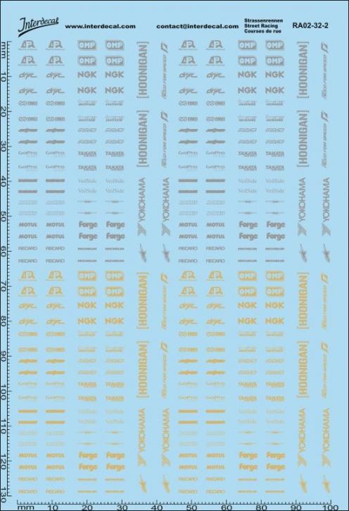 Straßenrennen Drift Decal 02 silber / gold 1/32 (100 x150 mm)