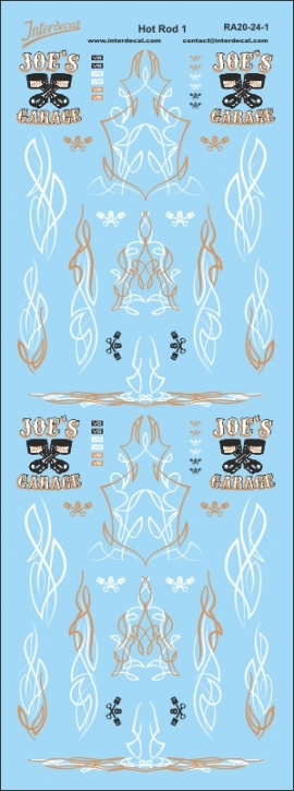 Hot Rod Pinstripe Decals gold 1/24 (200 x 75 mm)