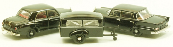 "Set Westfalia Bestattungsanhänger Typ 250 G + Mercedes 180 a  Ponton + Mercedes 190 C ""Heckflosse"""