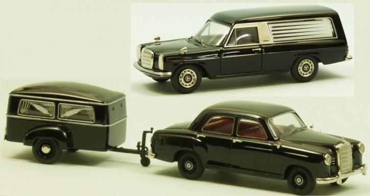 """Set Westfalia Bestattungsanhänger Typ 250 G + Mercedes 180 a  Ponton + Mercedes-Benz /8 Bestattungswagen """"Pollmann"""""""