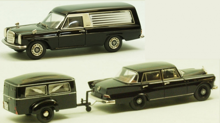"Set Westfalia funeral trailer Type 250 G + Mercedes 190 C ""Heckflosse""  + Mercedes-Benz /8 Hearse ""Pollmann"""