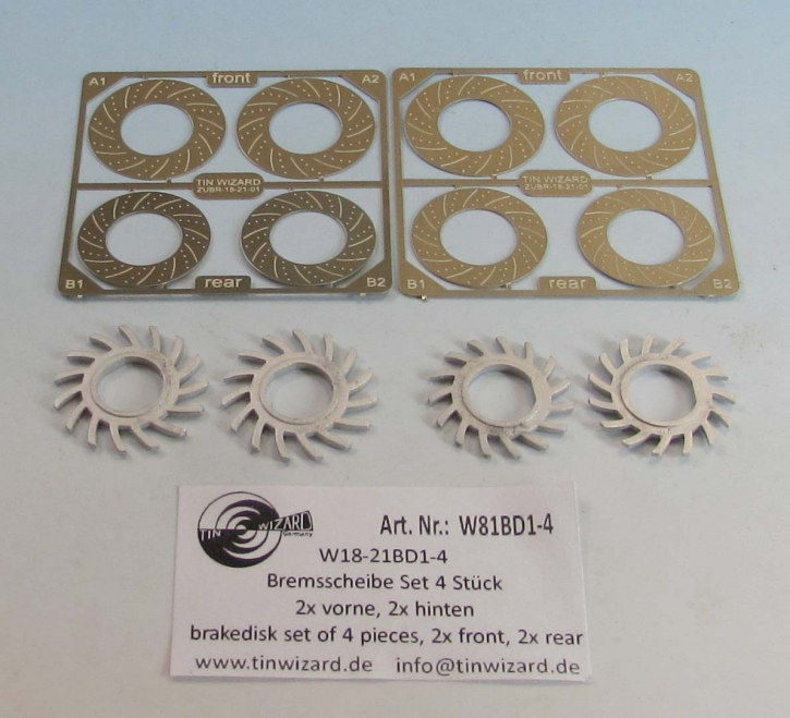 Metall Bremsscheibe innenbelüftet (3 teilig) Set 4 Stück  (2x vorne + 2x hinten)