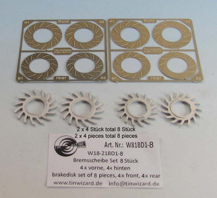 Metall Bremsscheibe innenbelüftet  Set 8 Stück  (4x vorne + 4x hinten)