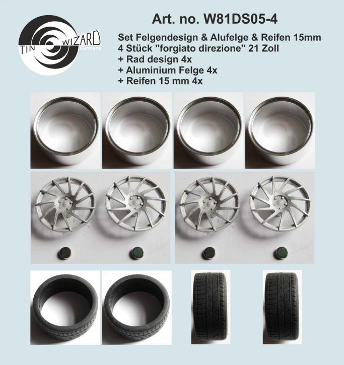 "Design & Alu rim & tyre 15 mm ""forgiato direzione"" 21 Zoll Set 4 pieces"