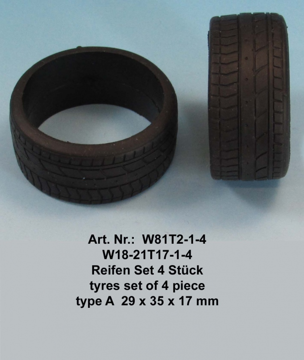 Tyres set of 4 pieces  type B  29 x 35 x 17 mm