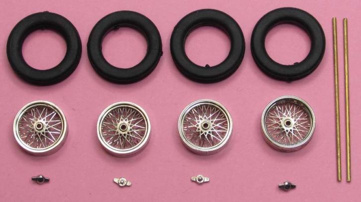 4x Speichenfelge (1/43)  Fertigmodell vernickelt ø= 10,3mm x 3,3mm  ZU0091-1-4