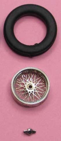 1x Speichenfelge (1/43)  Fertigmodel vernickeltl ø= 12,9 mm x 3,7 mm  ZU0093-1-1