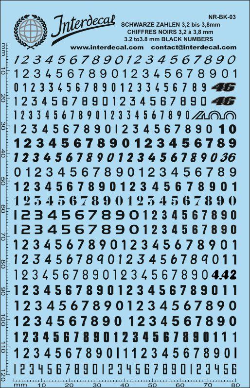 Schwarze Zahlen  0,7 - 6,1 mm hoch (für Kreise R01-87)