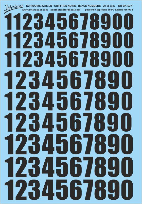 Schwarze Zahlen 20 - 25 mm hoch (für Kreise RO3)