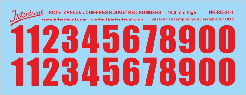 Red numbers  13 - 17,5 mm high (for roundels R02)