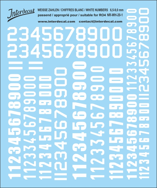 White numbers  6,5 -13 mm high (for roundels R04)