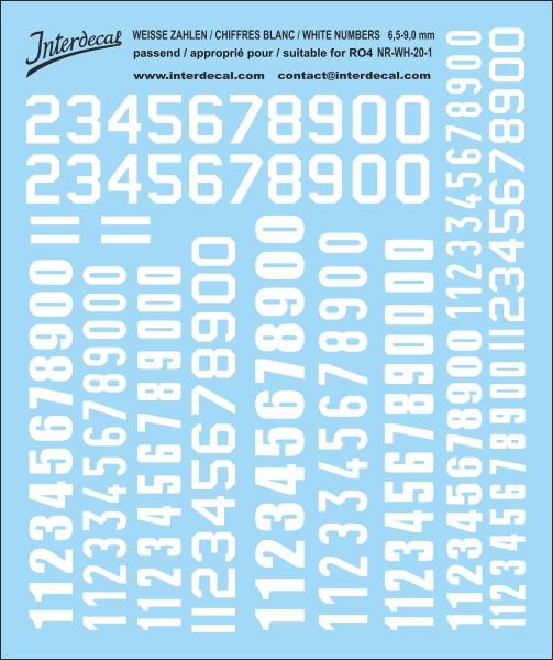 Weiße Zahlen  6,5 bis 13 mm hoch (für Kreise RO4)