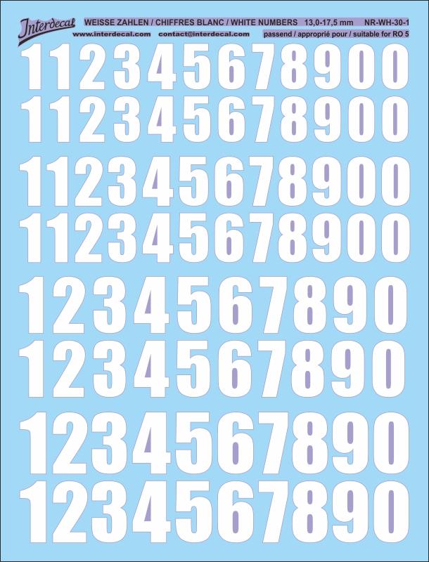 Weiße Zahlen 13 - 17,5 mm hoch (für Kreise RO5)