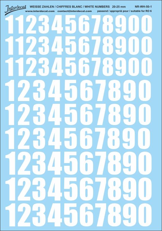 Weiße Zahlen 20 - 25 mm hoch (für Kreise RO6)