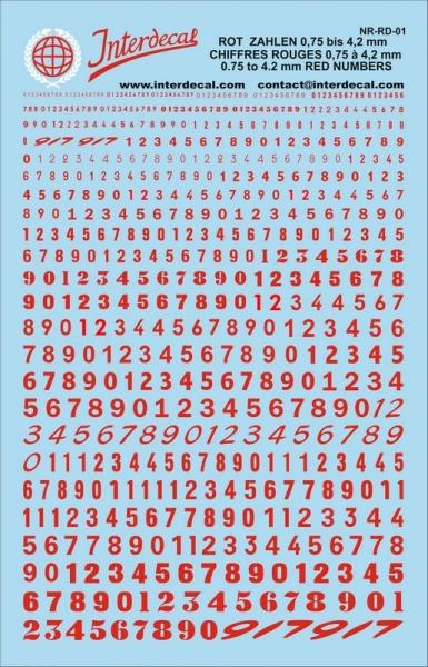 Rote Zahlen  0,36 - 6,1 mm hoch (für Kreise R01-87)