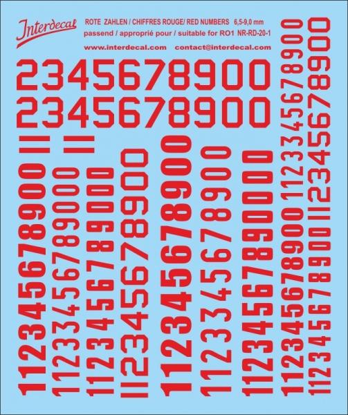 Rote Zahlen  6,5 bis 13 mm hoch (für Kreise RO1)