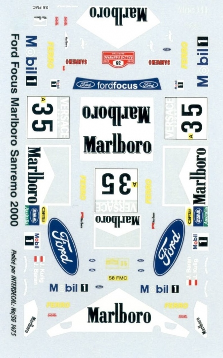 Ford Focus Marlboro San Remo 2000 1/43 JA1475