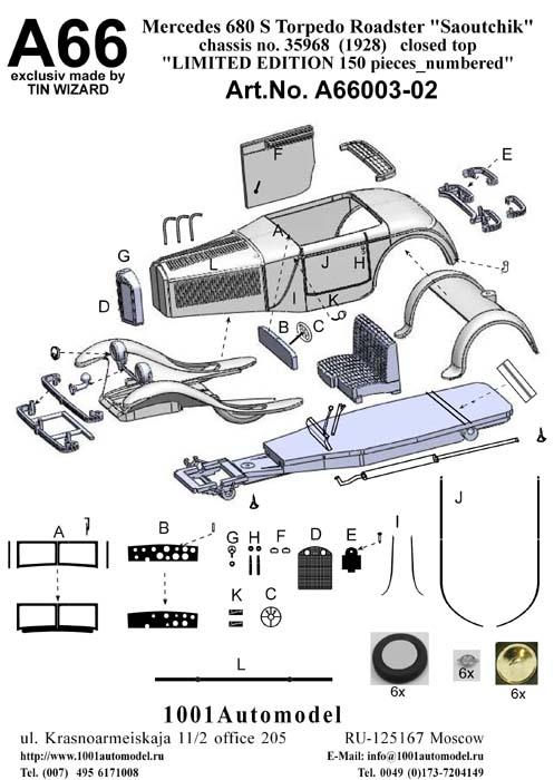 """Mercedes 680 S 26/120/180 PS Torpedo Roadster """"Saoutchik"""" (1928)_chassis no.35968_geschl. Dach"""
