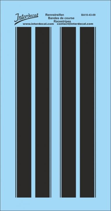 Rennstreifen / Viperstreifen / Rallyestreifen schwarz 1/43  (85 x 45 mm)
