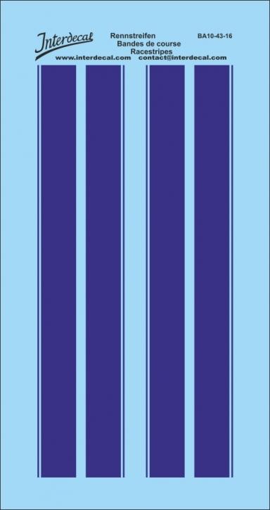 Rennstreifen / Viperstreifen / Rallyestreifen dunkelblau 1/43  (85 x 45 mm)