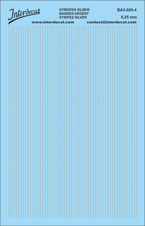 Streifen Decal silber 0,25mm  (90x140 mm)