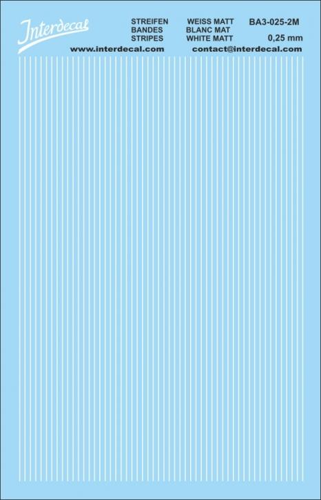 Stripes white 0,25mm  (90x140 mm) white matt