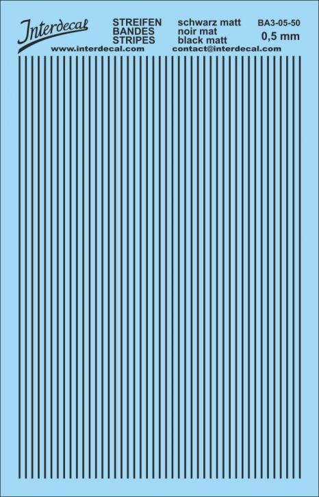 Stripes Decal 1,0 mm  / matt black (90x140 mm) BA3-10-50