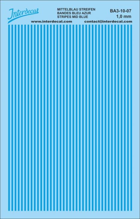 Stripes Decal1,0mm  mid blue (90x140 mm) BA3-10-7