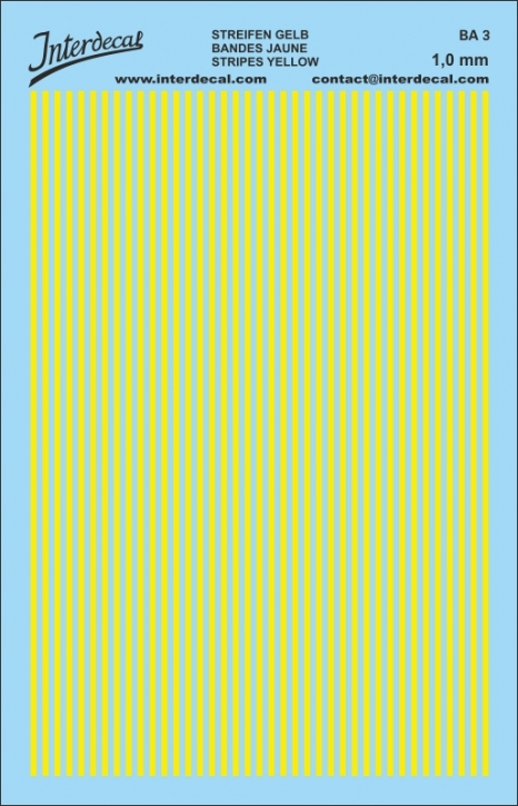 Stripes Decal 1,0mm  yellow (90x140 mm) BA3-10-8