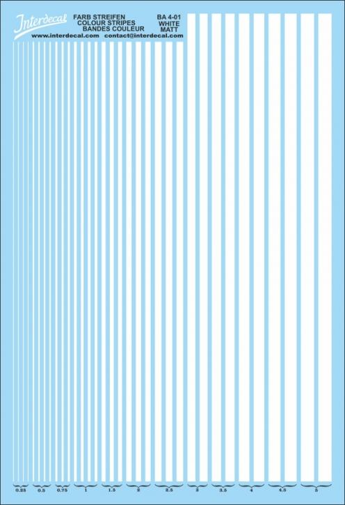 Stripes  0,25 - 5,0 mm  (130x190 mm) white matt