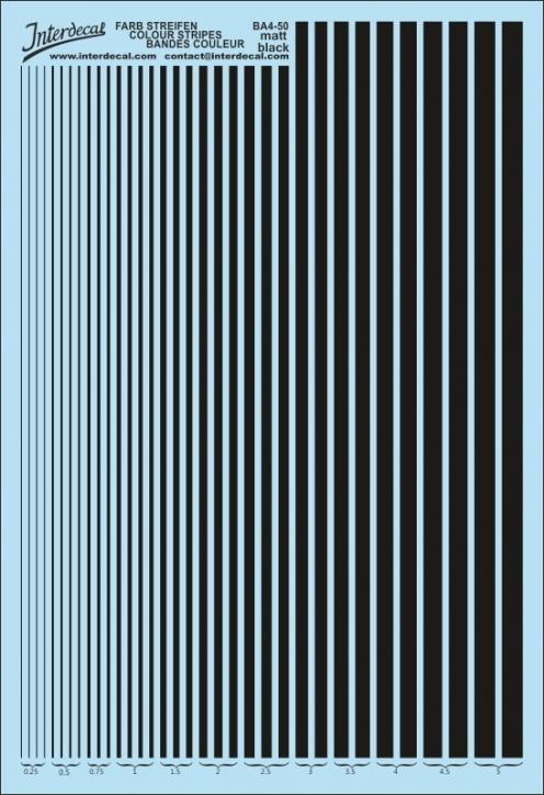 Stripes  0,25 - 5,0 mm  matt black (130x190 mm) BA4-50