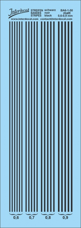 Stripes matt black 0,6-0,9 mm BA6-1-50