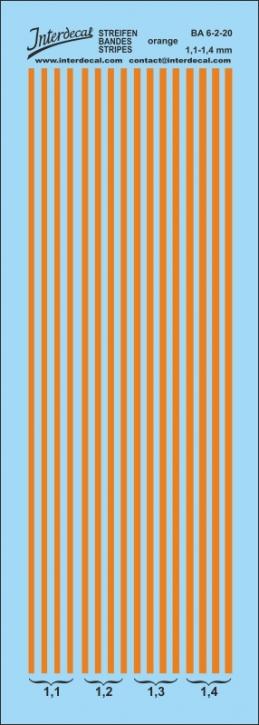 Streifen orange Decal 1,6-1,9 mm Naßschiebebild BA6-3-20