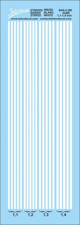 Stripes white matt 1,1 - 1,4 mm