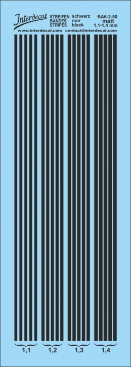 Stripes matt black 1,1-1,4 mm BA6-2-50
