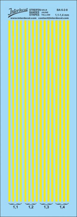 Streifen gelb 1,1 - 1,4 mm  (50x140 mm)